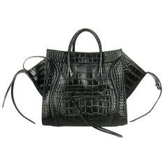 3af1eec28268 Celine Luggage Phantom Croc Tote Bag Black ❤ liked on Polyvore featuring  bags