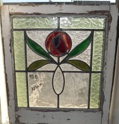 1 Antique English Stained Glass Windows # J 92 B  21 x 24
