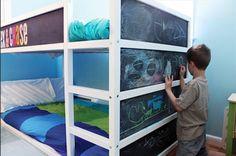 Cool and Playful IKEA Kura Bed Hacked into Bunk Bed with Chalkboard Ikea Loft Bed Hack, Kura Hack, Painted Bunk Beds, Cama Ikea Kura, Kids Bunk Beds, Diy Bed, Kids Bedroom, Lego Bedroom, Attic Bedrooms