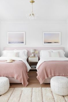 soft pastel girl bedroom decor with leather poufs and pink bedding, shared girl bedroom, shared guest bedroom Twin Girl Bedrooms, Sister Bedroom, Shared Bedrooms, Girl Bedroom Designs, Room Ideas Bedroom, Kids Bedroom, Bedroom Decor, Bedroom For Twins, Twin Bed Room