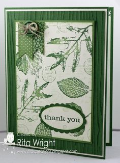 Another great design using French Folliage stamp set.  Check out the woodgrain background, too.