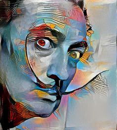 DeepDreamGenerator.com edit of 1954 Portrait of Salvador Dali by photographer Philippe Halsman. -2016 (style image: Portrait of Marie-Therese by Pablo Picasso- 1937)