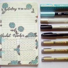 Hydrangea themed Habit Tracker and Holiday To-do List, perfect for staying organized during the holidays!