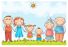 Illustration of Happy family with two children vector art, clipart and stock vectors. Family Clipart, Family Vector, Family Drawing, Drawing For Kids, Happy Family, Happy Kids, Grade 1 Art, Family Coloring Pages, Cartoon Sketches