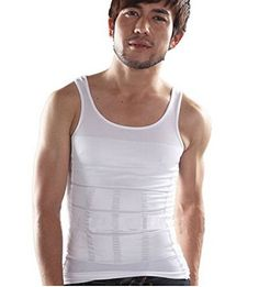 3181bac4edb22 White L Fatty Slimming Body Shaper Vest Shirt Mens Belly Corset Underwear  by Abcstore99   You
