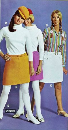 1960s Minis skirts mod short turtle neck sweater blouse shirt stripes tan white pink hat shoes belt tights vintage fashion style print ad models