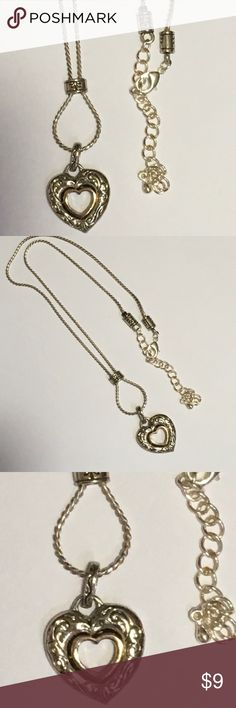 """Silver Slide Heart in Heart Necklace Reversible Silver Slide Heart in Heart Reversible Necklace.  18"""" with 3"""" additional extension. Jewelry Necklaces"""