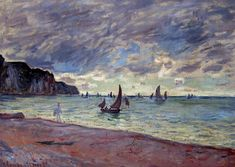"Claude Monet -    ""Fishing Boats by the Beach and the Cliffs of Pourville"", 1882"