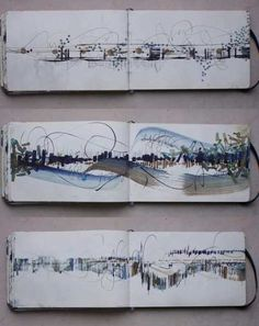 Carnet de travail - Élisabeth Couloigner  The pages flow, the space has been used in a really interesting and beautiful way. It creates interesting negative space.