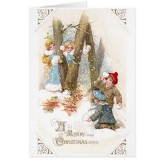snowball vintage | Snowball Fight Vintage Christmas Greeting Card