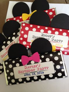 Mickey or Minnie-Hershey bars wrapped with personalized wrappers and embellished with mouse ears and a bow - pinned by pin4etsy.com