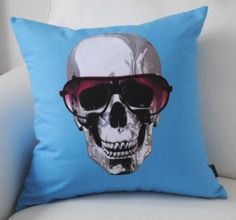 Blue Cool Skull Glasses Fashion Decorative Pillow Case Modern Cushion Cover Sham
