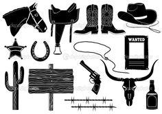 western silhouette clip art free | ... .com/shop/horseshoe-silhouettes/cowboy-and-saddle-hs20/prod_110.html