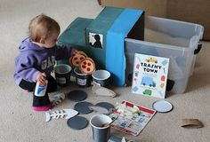 Trashy Town activity bin, pretend play, book extension activity (Book by Dan Yaccarino and Andrea Zimmerman)