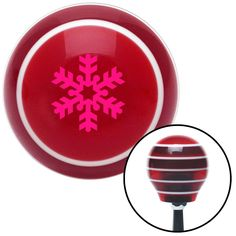 Pink Snowflake Filled In Red Stripe Shift Knob with M16 x 15 Insert