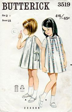 Girl's Pleated Dress Vintage Sewing Pattern - Butterick 3519 Size 2 --Shared by WhatnotGems. Childrens Sewing Patterns, Kids Patterns, Vintage Sewing Patterns, Dress Patterns, Coat Patterns, Vintage Girls Dresses, Little Girl Dresses, Vintage Outfits, Dress Vintage