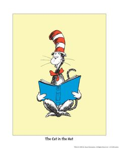 The Cat in the Hat (on yellow) Print by Theodor (Dr. Seuss) Geisel at Art.com