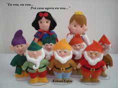 "Enfeites p/aniversários ""Branca de Neve e os sete anões.              @koisasfofasfeltros"