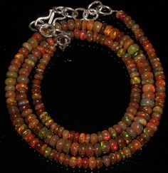 "43 Crts 1 Strands 3 to 5 mm 16"" Beads necklace Ethiopian Welo Fire Opal  A+++993"