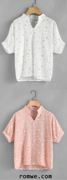 Stand Collar Calico Print Random Blouse