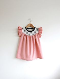peach cotton dress with dots detail by swallowsreturn on Etsy