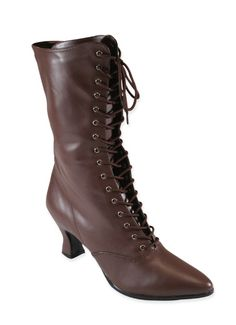 Victorian Boot - Brown Faux Leather [004137]