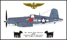 Chance Vought F4U-1A Corsair VMF-214 Blacksheep Mayor Gregory Pappy Boyington