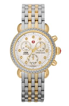MICHELE 'CSX-36 Diamond' Diamond Dial Two-Tone Watch Case & 18mm Bracelet  available at #Nordstrom