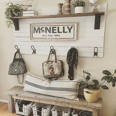 Let's talk for a moment about how talented my friend Laura @mcnellyfarmhouselove is! This picture of her entryway is floating around Pinterest with hundreds of thousands of re-pins. How grateful am I that she chose to style her beautiful coat rack (and many other pieces she's built) with our established sign! Her page is full of inspiration. Hop on over now!  : @mcnellyfarmhouselove  .  .  .  Our established sign can be found in the Etsy shop ••LINK IN BIO••  .  .  #entryway #