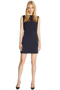 Party Dresses | Blue HIGH NECK SATIN PANEL SHIFT DRESS | Warehouse