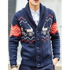 Slimming Trendy Turn-down Collar Ethnic Abstract Fawn Print Long Sleeves Men's Cardigan, CADETBLUE, M in Cardigans & Sweaters   DressLily.com