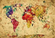 Trademark art urban watercolor world map canvas art by michael vintage world map poster at allposters gumiabroncs Gallery
