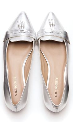 Flat loafers with a front tassel and pointed toe - sole society Pretty Shoes, Cute Shoes, Me Too Shoes, Shoe Closet, Crazy Shoes, Silver Loafers, Metallic Loafers, Shoe Game, Loafer Flats