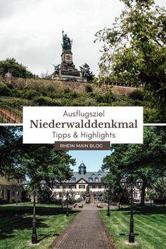 Erlebe eine der bedeutendsten Sehenswürdigkeiten bei deinem Ausflug zum Niederwalddenkmal in Rüdesheim. Tipps und welche Highlights dich ebenfalls erwarten. Maine, Rhein Main Gebiet, Highlights, S Bahn, Frankfurt, Sidewalk, Outdoor, Blog, Movie Posters