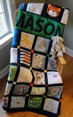 baby boy blankets Turn those precious baby clothes, receiving blankets, bibs, etc. into a memorable quilt for boy or girl! Pictured quilt is fashioned in a grid design using 44 Quilt Baby, Baby Memory Quilt, Boy Quilts, Memory Quilts, Baby Receiving Blankets, Baby Boy Blankets, Baby Clothes Blanket, Quilt With Baby Clothes, Baby Boys