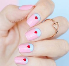 """Pastel pink and blue are super cute together. Add tiny red hearts for that added """"Aww"""" factor."""