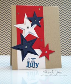 handmade Fourth of July card ... kraft base ... red, white and blue cardstock ... did cut star pattern on a side panel ... a bit of bling with clear jewels ... like the strong graphic feel of this card ...
