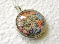 World Traveler Map Necklace  Bulgaria Perfect by TheGreenDaisyShop, $20.00