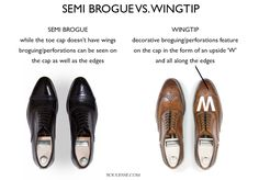 Semi Brogue vs. Wingtip - Men Shoe Guide Gentleman Shoes, True Gentleman, Brown Brogues, Flannel Suit, Country Attire, Shoe Closet, Men S Shoes, Vintage Shoes, Leather Shoes