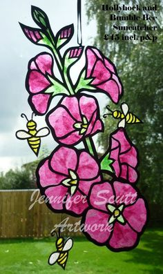 Bee and Hollyhocks By Jennifer Scutt     https://www.facebook.com/media/set/?set=a.852701888139764.1073741864.664237603652861&type=3