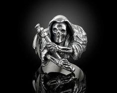 grim Reaper skull Ring for unisex made of sterling silver 925 Gothic biker Gothic Rings, Sterling Silver Mens Rings, Biker Style, Grim Reaper, Friends In Love, Beautiful Rings, Fashion Photo, Rings For Men, Handmade