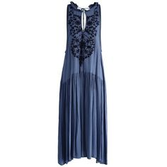 Chicwish Blue Miracle Embroidered Crepe Dress (69 AUD) ❤ liked on Polyvore featuring dresses, blue, skater skirts, blue beaded dress, crepe dress, blue summer dress and blue circle skirt