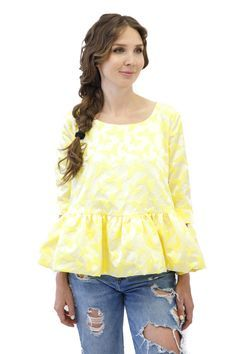 Achers yellow jacquard blouse with butterfly print #achers#yellow#blouse#jacquard#butterfly#yellowblouse#jacquardblouse#butterflyblouse