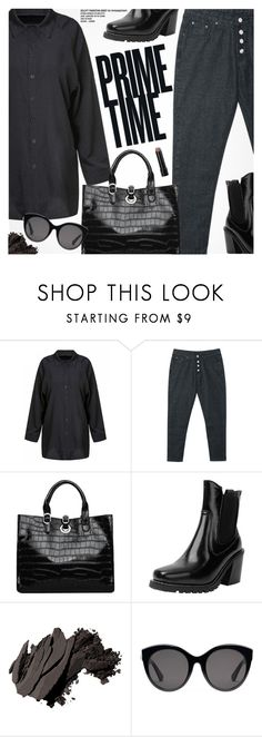 """""""Monochrome: All Black Everything"""" by pokadoll ❤ liked on Polyvore featuring Bobbi Brown Cosmetics and Gucci"""