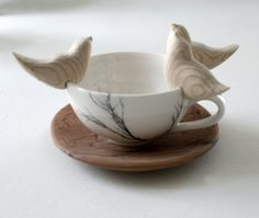 LOVE BIRDS, 3 x hand carved wooden birds, fit onto the rim of a cup, bowl, mug or branch.