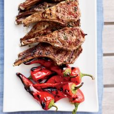 This is definitely yummy.lamb, garlic, chiles and anchovies.Grilled Lamb Chops with Garlic, Chiles and Anchovies Recipe from Food & Wine Best Lamb Recipes, Spicy Recipes, Wine Recipes, Cooking Recipes, Favorite Recipes, Delicious Recipes, Beef Recipes, Goat Recipes, Grilled Recipes
