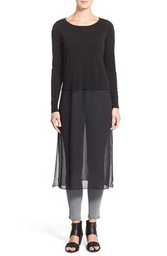 Eileen Fisher Ballet Neck Silk Layering Dress