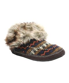 Another great find on #zulily! Brown Knit Faux Fur Moccasin Slipper Socks by Rocket Dog #zulilyfinds