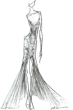Fashion Sketch - dress drawing; fashion illustration // Anne Bowen   http://www.pinterest.com/adisavoiaditrev/
