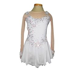 Dumb Light Spandex Elasticated Net Lace Flowers Figure Skating Clothing White - USD $ 129.99